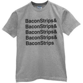 NEW BACON STRIPS epic tee Food meal Funny time T shirt GREY