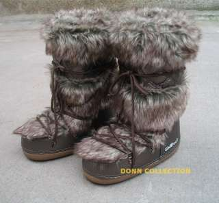 ESKIMO FAUX RABBIT FUR LONG FURRY YETI MOON SKI BOOTS SHOES BROWN SNOW