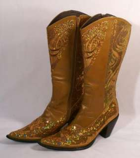 Helens Heart Sequin Boots American Idol Country Cowboy Gold Size 8