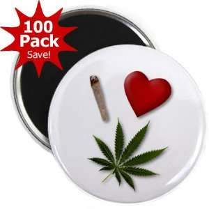 I HEART WEED Marijuana Pot Leaf 100 Pack of 2.25 inch Fridge