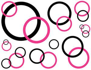 HOT PINK BUBBLE CIRCLE DOTS WALL BORDER STICKERS DECALS