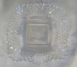 VINTAGE PRESSED GLASS PILLAR CANDLE HOLDER /BOWL