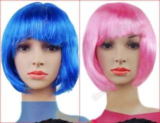Short Straight Cosplay Party Fancy Dress Fake Hair Wig 5Colors Fashion
