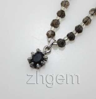 natural faceted smoky quartz beads gem necklace 17long/strand beads