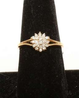 Estate 14K Solid Gold .20ct Diamond Cluster Womans Ring