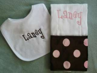 NEW* Personalized Bib and Minky Burp Cloth *BABY GIFT*