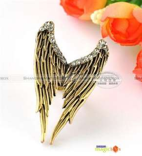 Women Fashion Vintage Punk Wing Bling Rhinestone Ring New #FARING021