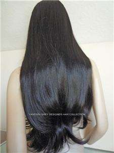 WIG PERRUQUE BLACK BROWN EXTRA LONG 30 IN HIGH QUALITY