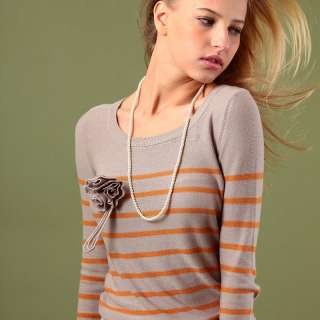 Vancl 2011 fashion trend womens ladies Flower Decoreated Striped Knit