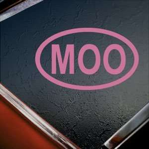 MOO Oval Cow Lover Pink Decal Car Truck Window Pink
