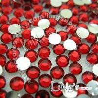 1000pc 3mm Ruby Red Siam Flatback Round Rhinestone SS12