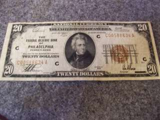 1929 FEDERAL RESERVE BANK OF PHILADELPHIA TWENTY DOLLAR NOTE