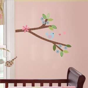wall decal with bird and flowers and hearts super cute for any nursery