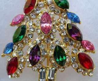 CHRISTMAS TREE BROOCH JEWELRY CRYSTAL PIN NEW B1U92