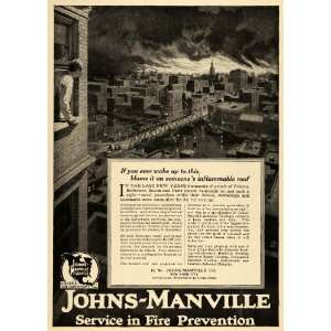 Ad Community Fires Johns Manville Fire Prevention   Original Print Ad