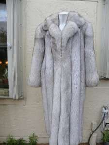 GORGEOUS GENUINE WHITE FOX LONG FULL COAT FINLAND SZ 44