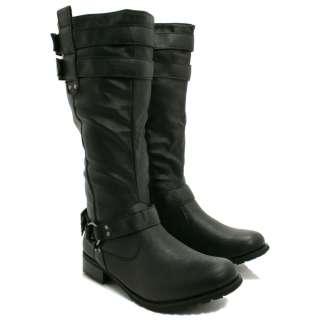 FIRE SALE New Womens Leather Style Knee Biker Flat Buckle Ladies