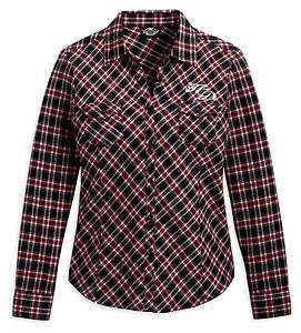 DAVIDSON WOMENS RED & BLACK FLANNEL SHIRT #96314 11VW SIZE S, L, XL