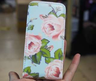 Flowers blooming Leather Flip Wallet Case Skin Cover For Apple iPhone