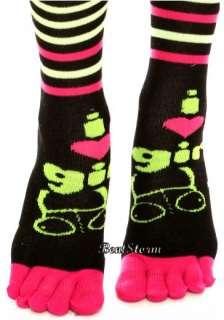 Invader Zim I HEART GIR Knee High Toe Socks Stripe Soft Plush