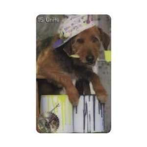 Collectible Phone Card 15u Dog With Paint Brush In Mouth & Dog House