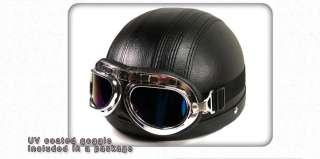 scooter Vintage helmet motorbike harley davidson Black goggle #Y~1
