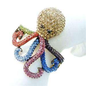 Octopus Bracelet Bangle Cuff Multi Swarovski Crystal Animal VTG Style