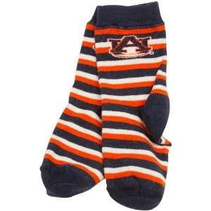 Tigers Toddler Navy Blue Orange Sport Stripe Socks