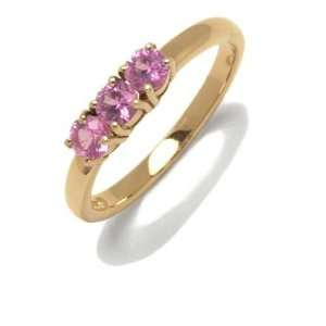 Ring in Yellow 18 karat Gold with Pink Sapphire, form Wedding ring