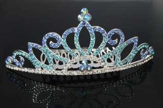 Majestic Royal King Queen Crown Tiara Comb Blue Crystal Rhinestone New