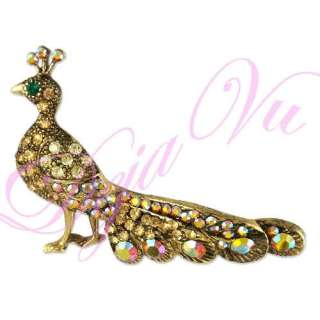 CRYSTAL YELLOW PEACOCK BIRD BROOCH PIN MADE WITH SWAROVSKI ELEMENTS