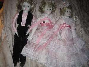 BISQUE PORCELAIN DOLLS MUSICAL 2 GIRLS & 1 BOY 22 T VICTORIAN