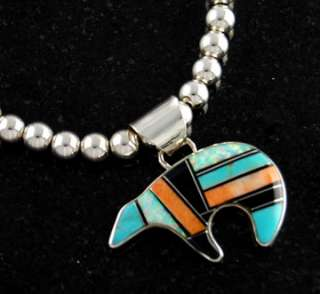 Navajo Leonard Nez Sterling Silver Multi Color Bear Necklace Turquoise