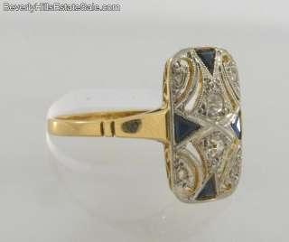 Art Deco 18K Yellow Gold Diamonds Sapphires Plat. Ring