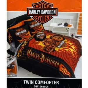 Harley Davidson Flame Rider Fireball Twin Comforter