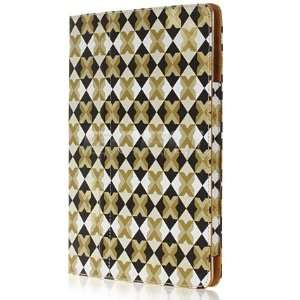 Ecell   GOLD DIAMOND CHEQUERED LEATHER CASE STAND FOR iPAD