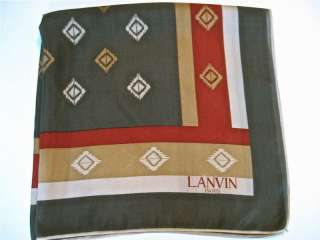 LANVIN PARIS SILK SCARF diamond DESIGN grey green~ rust ~ gold