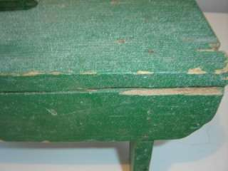 Vintage Primitive Rustic Green Wooden Bench Stool