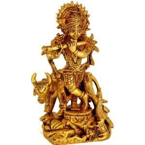 Gopala (Lord Krishna with Cow)   Brass Sculpture: Home