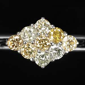 Exclusive  Natural Multicolor Diamonds, 14K Gold Ring