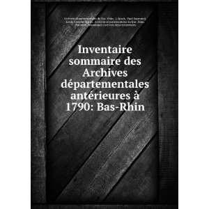 antérieures à 1790: Bas Rhin: L Spach, Paul Raymond