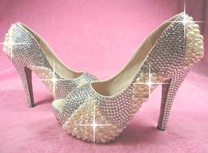 WOMENS HIGH HEEL SHOES SWAROVSKI CRYSTAL PEARL PLATFORM WEDDING/BRIDAL