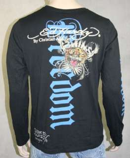 ED Hardy Men Double Skull & Tiger Black L S T Shirt