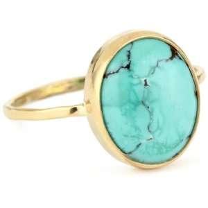 Melissa Joy Manning Neptune 14k Gold Turquoise Ring, Size 6 Jewelry