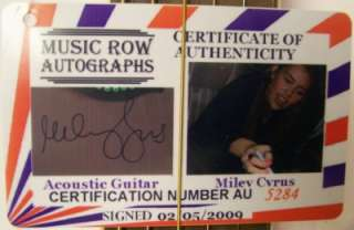 MILEY CYRUS Autograph Signed Pink Guitar FULL SIGNATURE Very Nice COA