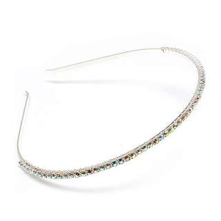 Bridal Wedding Hair Headband Rhinestone 1 Row AB