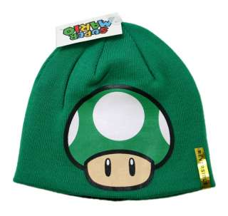 Nintendo Super Mario Green Mushroom Beanie Reversible Hat 1