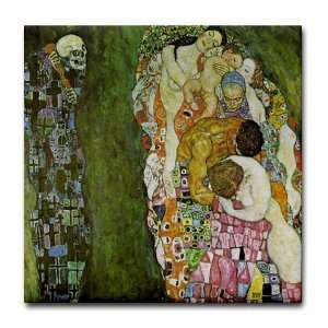 Gustav Klimt Art   Life and Death Art Tile Coaster by