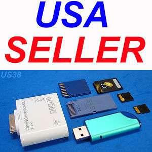 iPAD iPAD2 iPOD iPHONE ADAPTER USB FLASH THUMB DRIVE TF M2 MMC MS SD