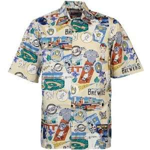 Reyn Spooner Milwaukee Brewers Cream Hawaiian Shirt
